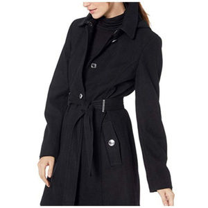 Calvin Klein Single Breasted Wool Coat Hood Black